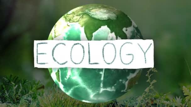 Animation Logo mit Ökologie Schrift mit Ökologie Thema Hintergrund