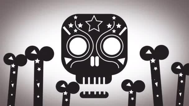 Tanzender Zuckerschädel mit Knochen, ideales Filmmaterial für die Halloween-Zeit