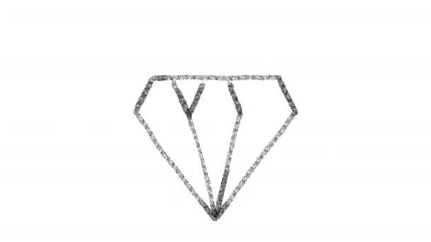 diamantová ikona navržená se stylem kresby na tabuli, animované záběry ideální pro kompozice a pohybovou grafiku