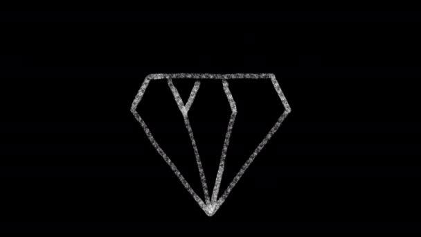gyémánt ikon tervezett rajz stílus a táblán, animált felvételek ideális kompozit és mozgásgrafikai