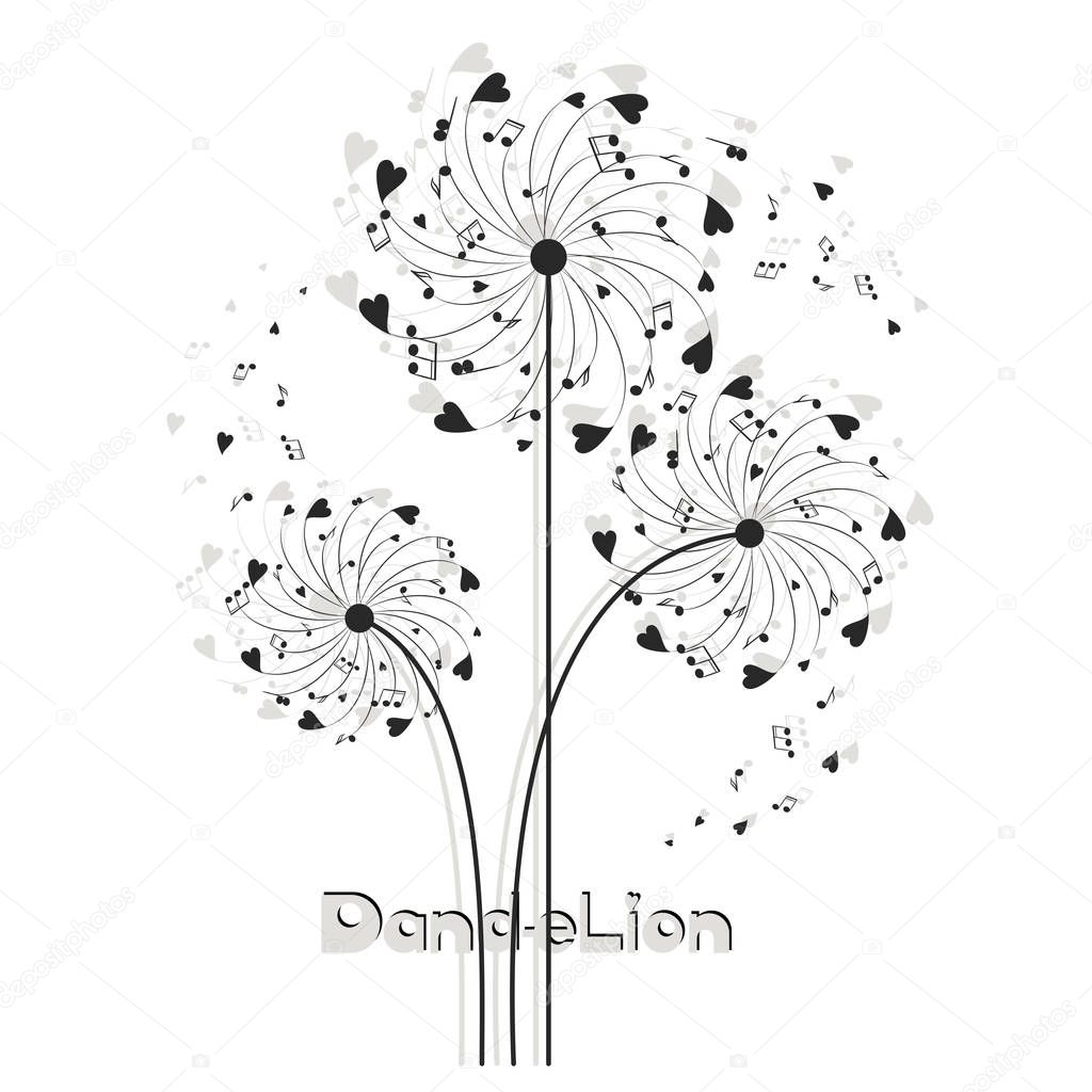 Musical dandelion from hearts and notes.