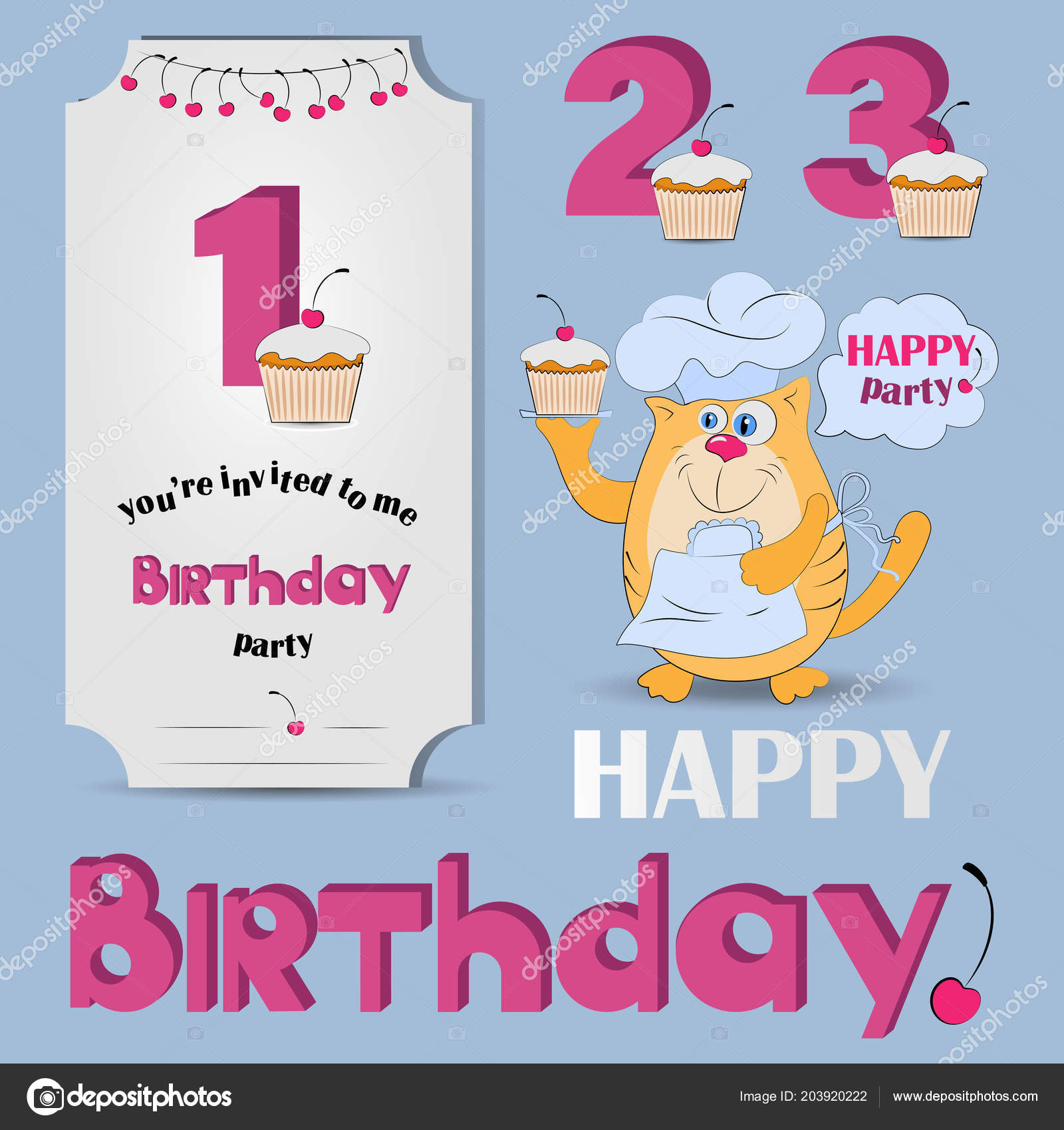 Happy Birthday Anniversary Numbers Set Numbers Funny