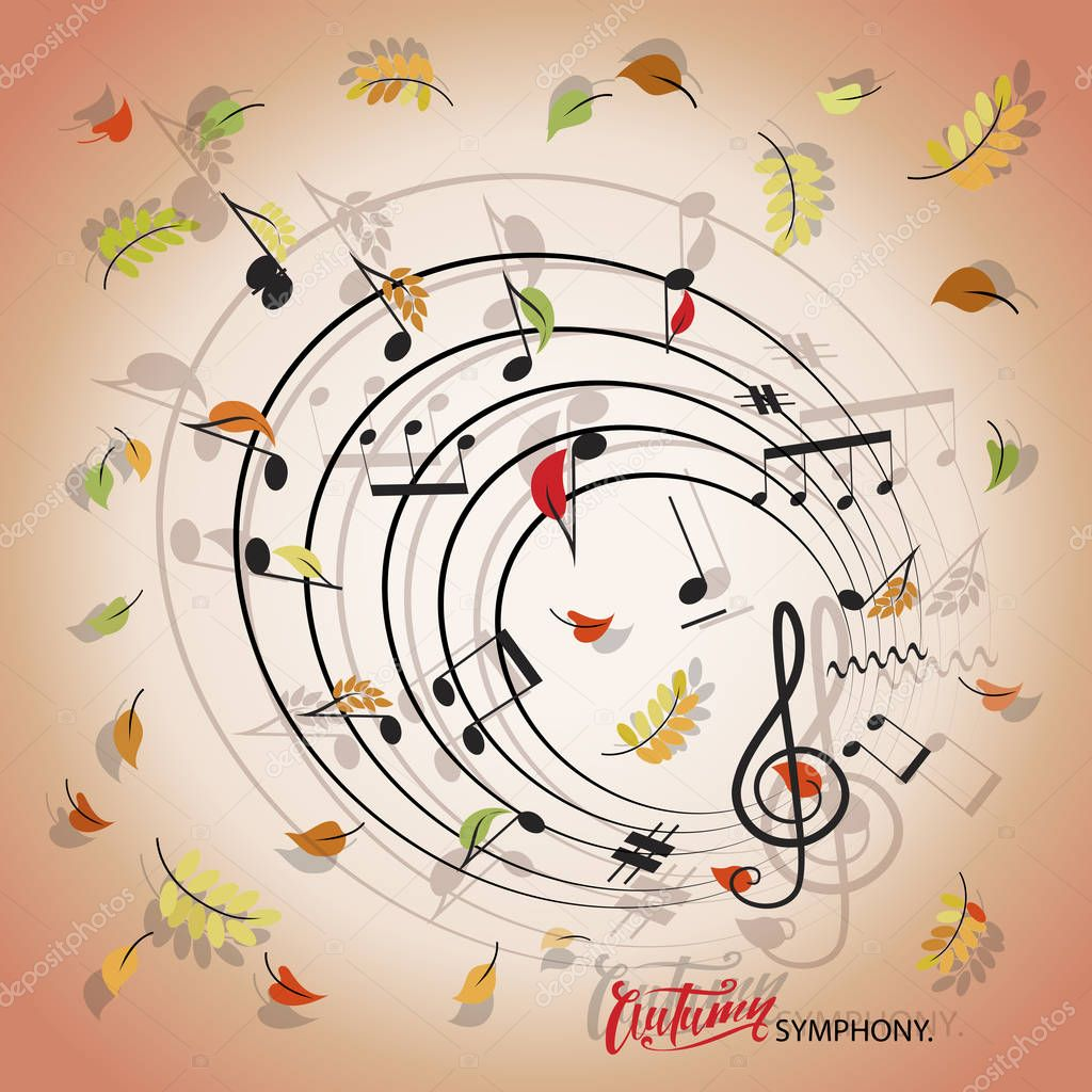 AUTUMN SYMPHONY. Leaves twirl and musical notes. Music poster. Composition for the design of ads, announcements, printing of festive and concert programs.