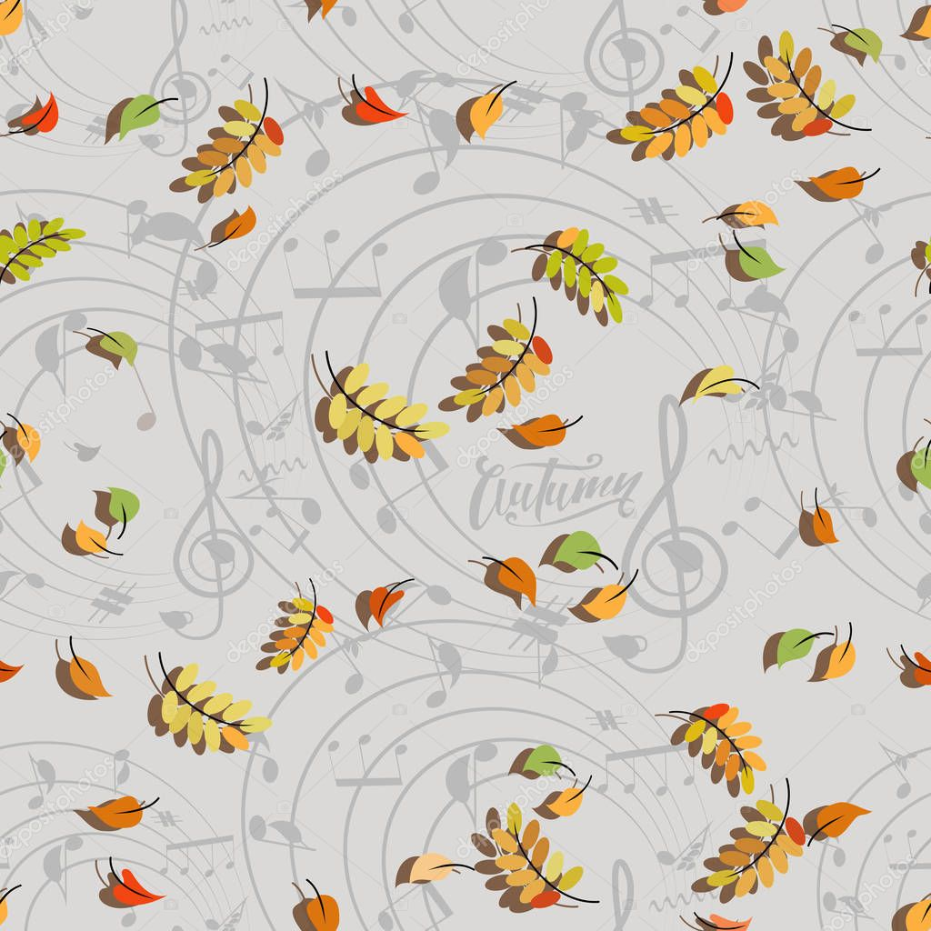 AUTUMN. Dancing leaves and musical notes. Musical pattern. Background composition for design of advertising, announcements, sites and printing on paper or fabrics, packaging of musical instruments.