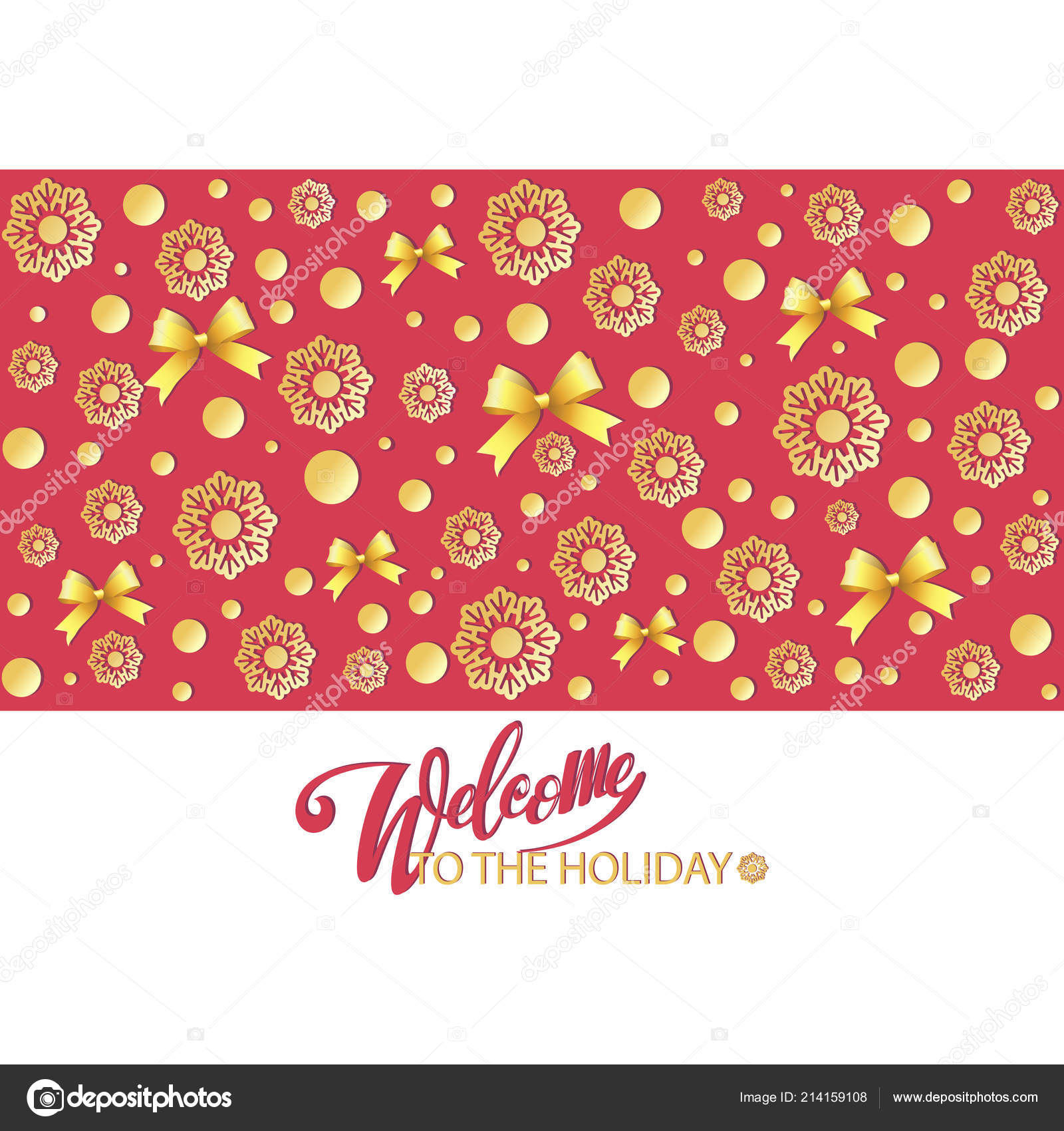 Welcome Holiday Invitation Snowflakes Bows Design Message