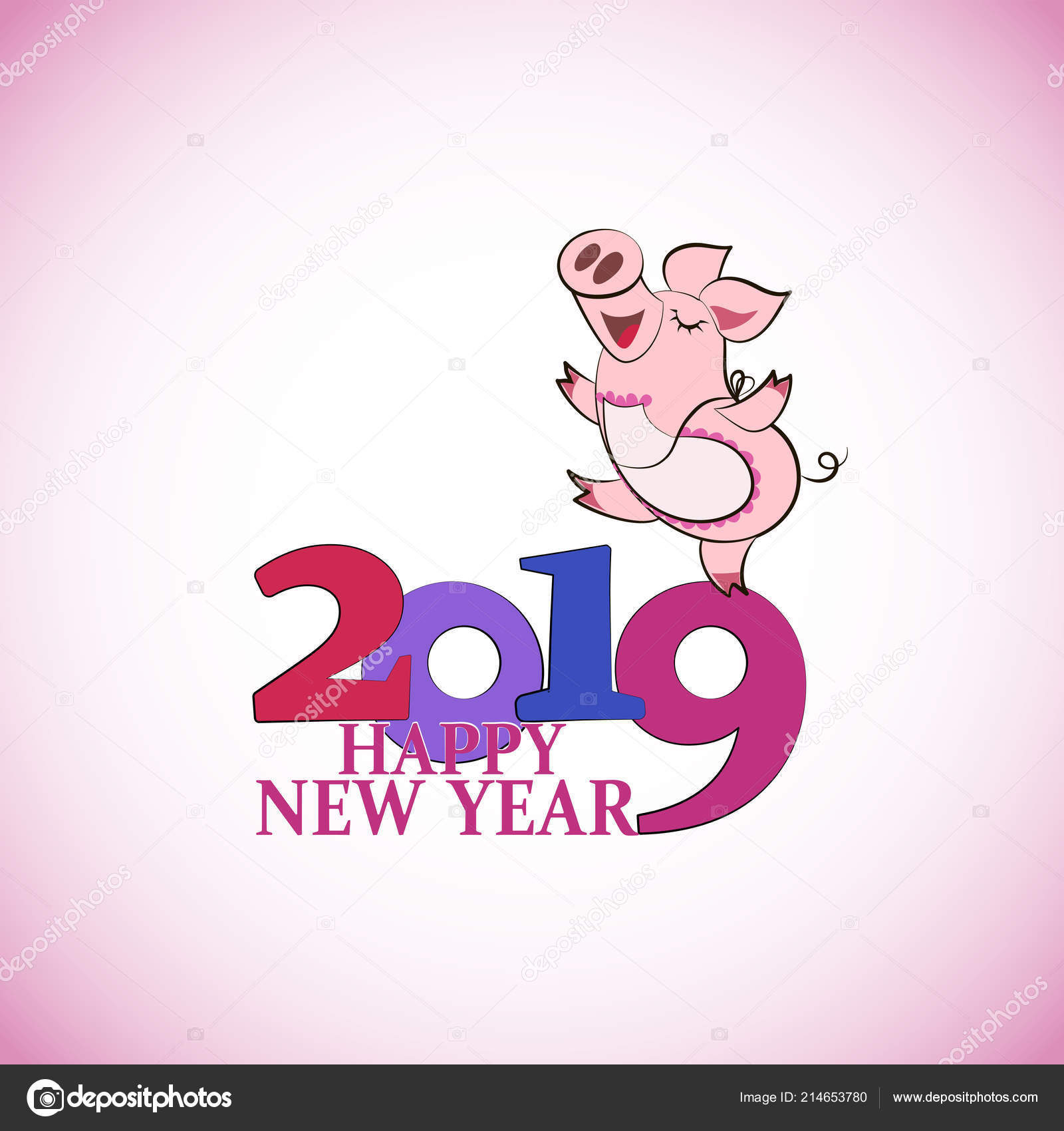 Lustiges Schwein Gehen Chinesisches Symbol Des Jahres 2019 Frohes ...