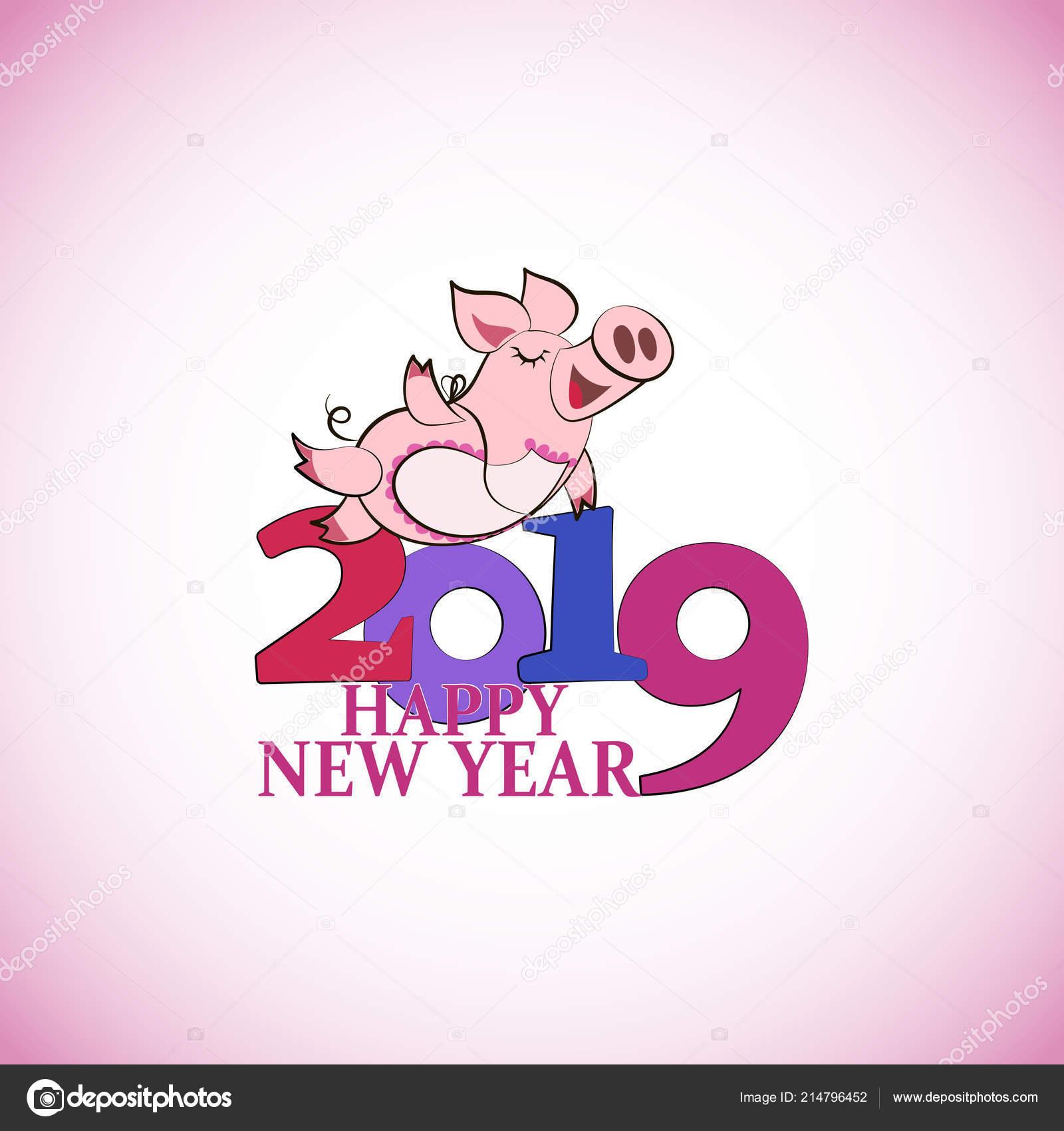 Lustige Rosa Schwein Frohes Neues Jahr Chinesisches Symbol Des ...