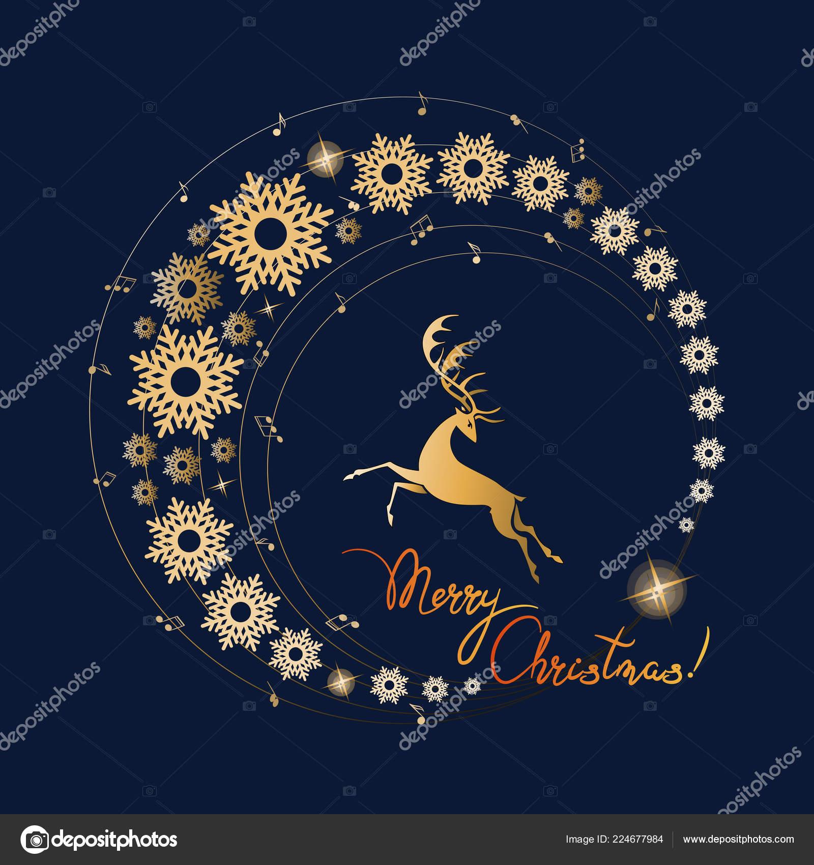 Frohe Weihnachten Musik.Edle Hirsch Goldenen Kreis Der Musik Und Schneeflocken Frohe