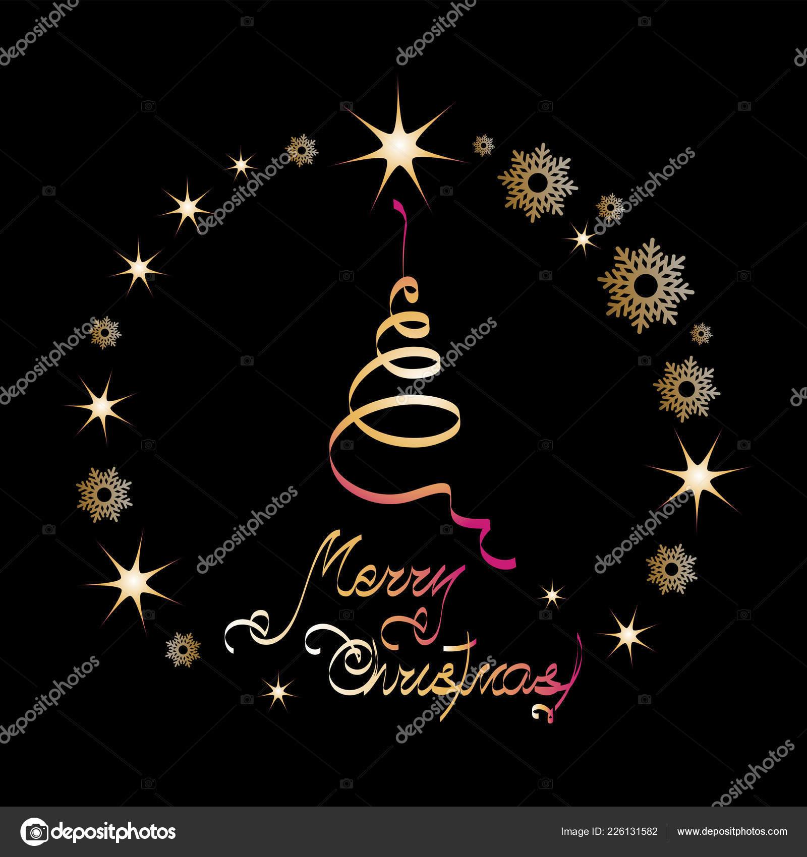 Merry Christmas Christmas Tree Made Spiral Ribbon Black