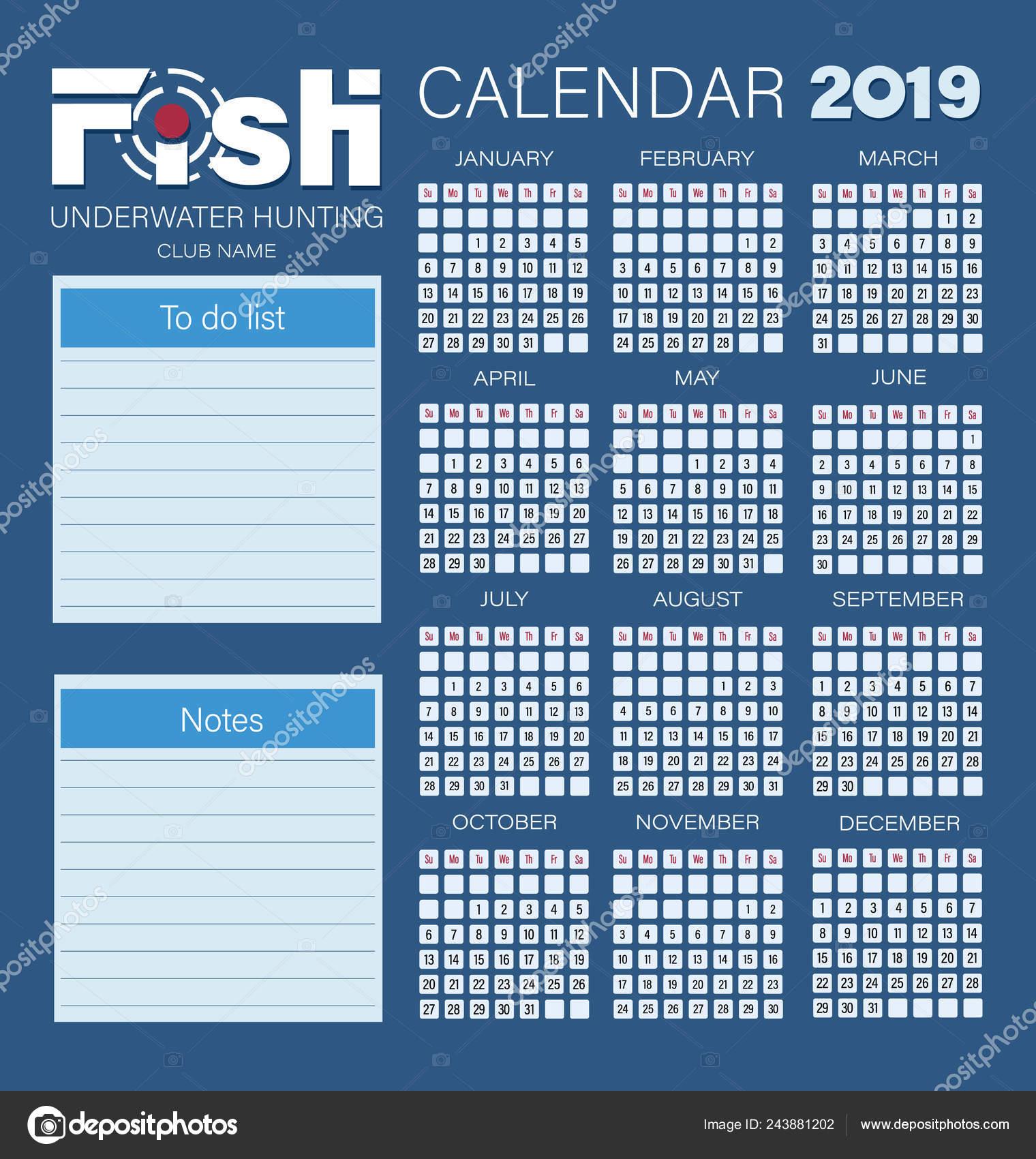 Calendario De Pesca.Planificador Calendario Para Ano 2019 Pescado Caza Submarina Semana