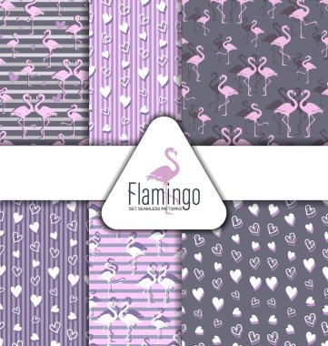 Flamingo and hearts. SET. SEAMLESS PATTERNS. Flock of tropical flamingos. Park of birds. Exotic birds and hearts on a striped and gray background.