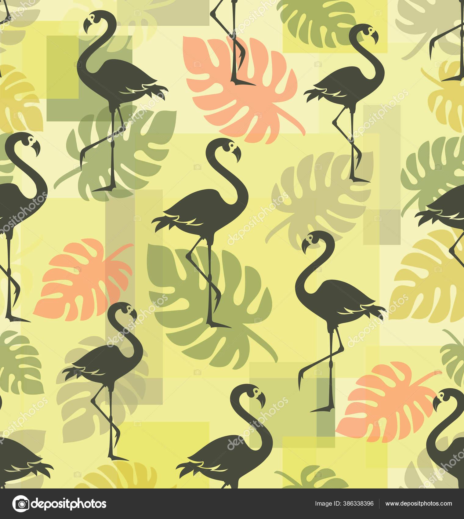 depositphotos 386338396 stock illustration tropical background flamingo silhouette monstera