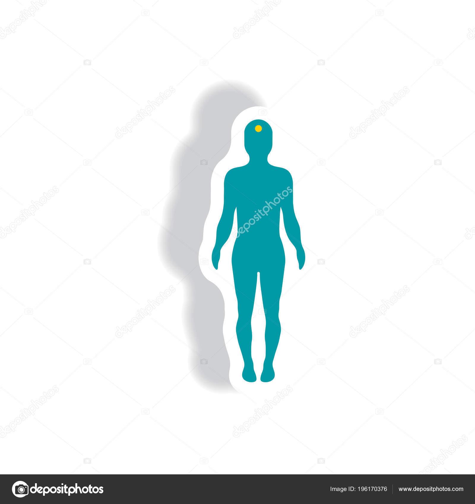 Körper Schlaganfall Papier Aufkleber Stil — Stockvektor ...