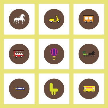 Collection of stylish vector icons in colorful circles Different kinds of transport