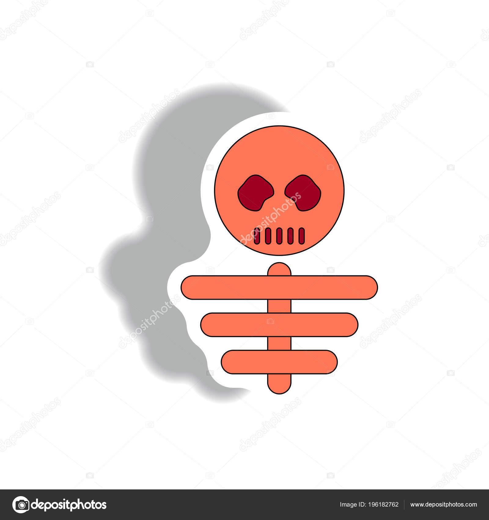 Esqueleto Halloween Estilo Etiqueta Engomada Papel — Vector de stock ...