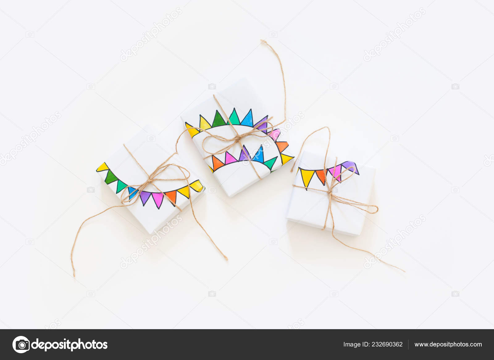 Colored Gift Boxes Jute Rope White Background Gifts Party