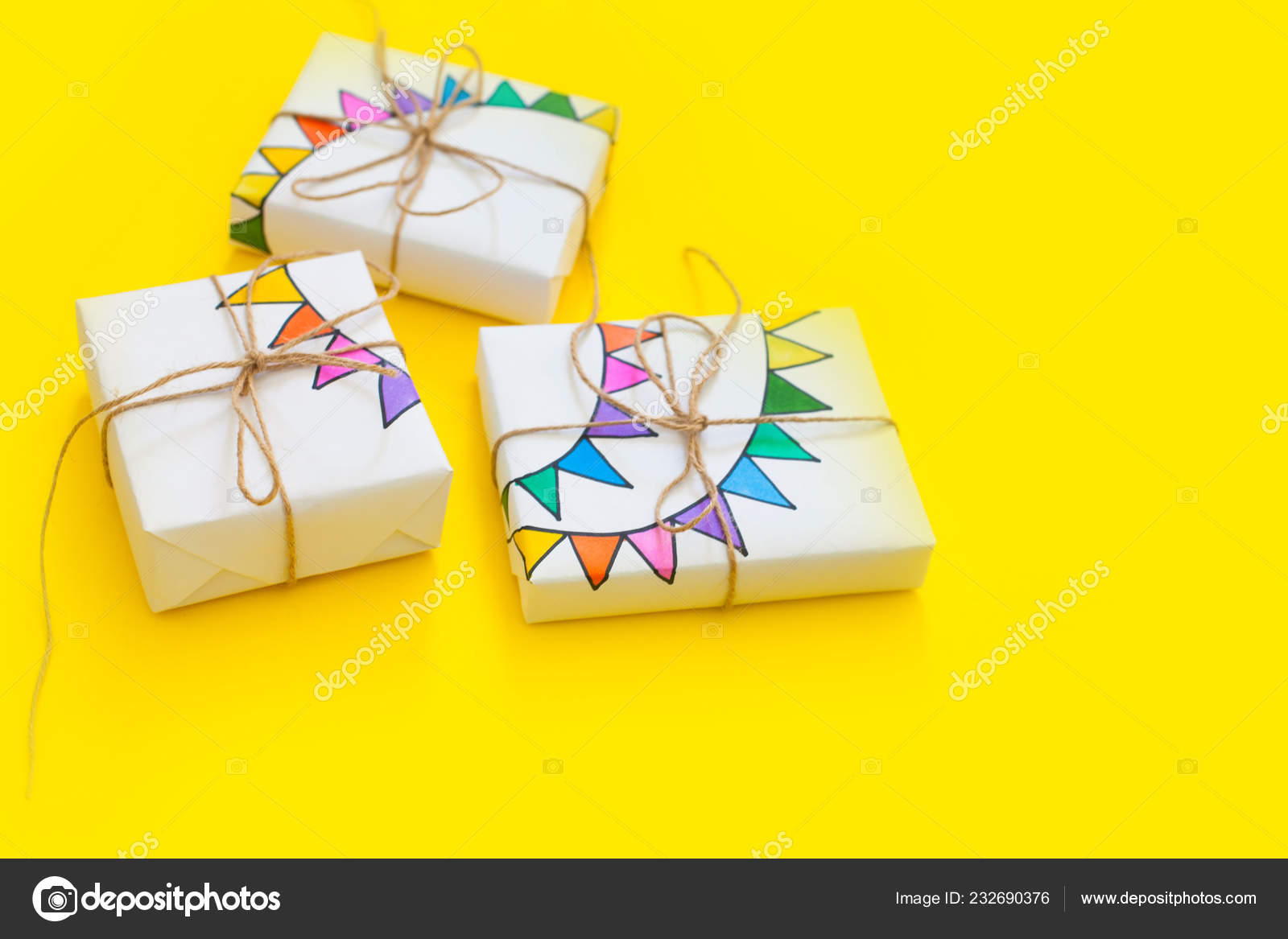 Colored Gift Boxes Jute Rope Yellow Background Gifts Party Birthday