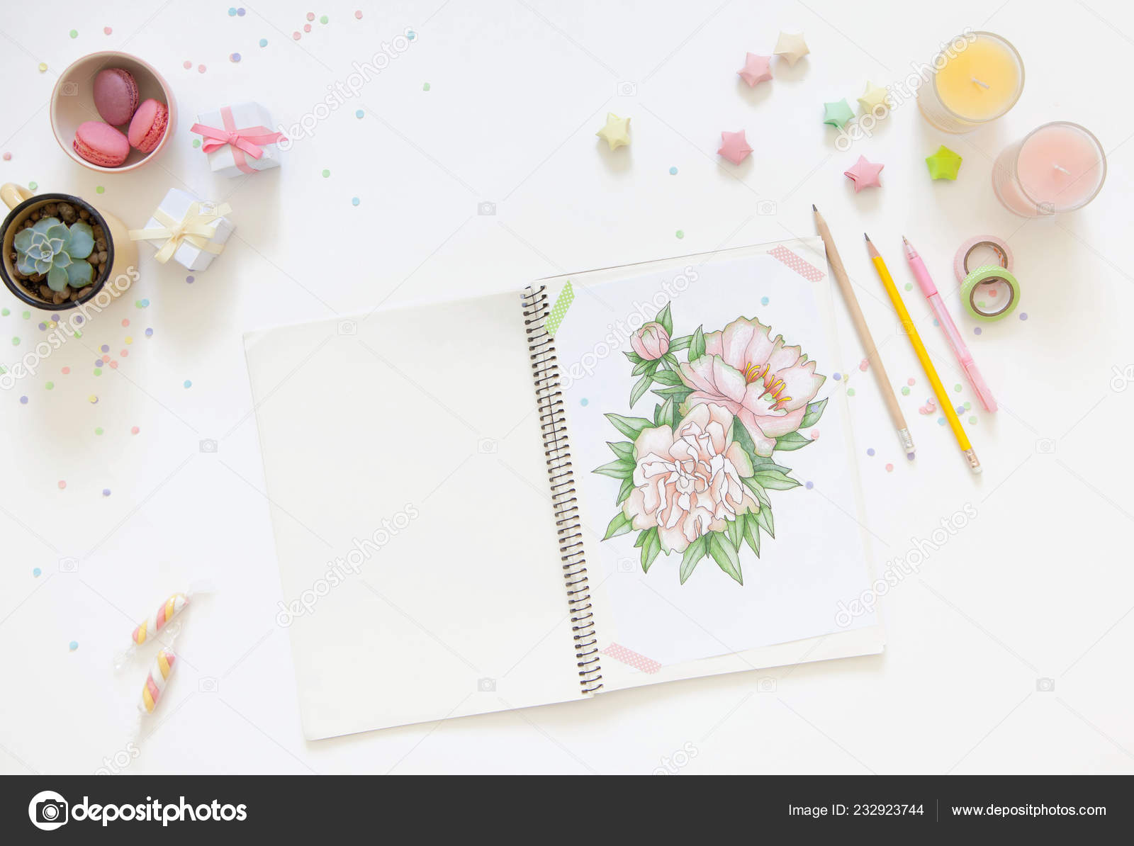 Concept Women Hobbies Leisure Drawing Simple Colored Pencils Stock