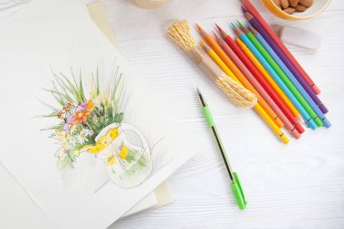 Illustration painted with colored pencils. Bright wild flowers.