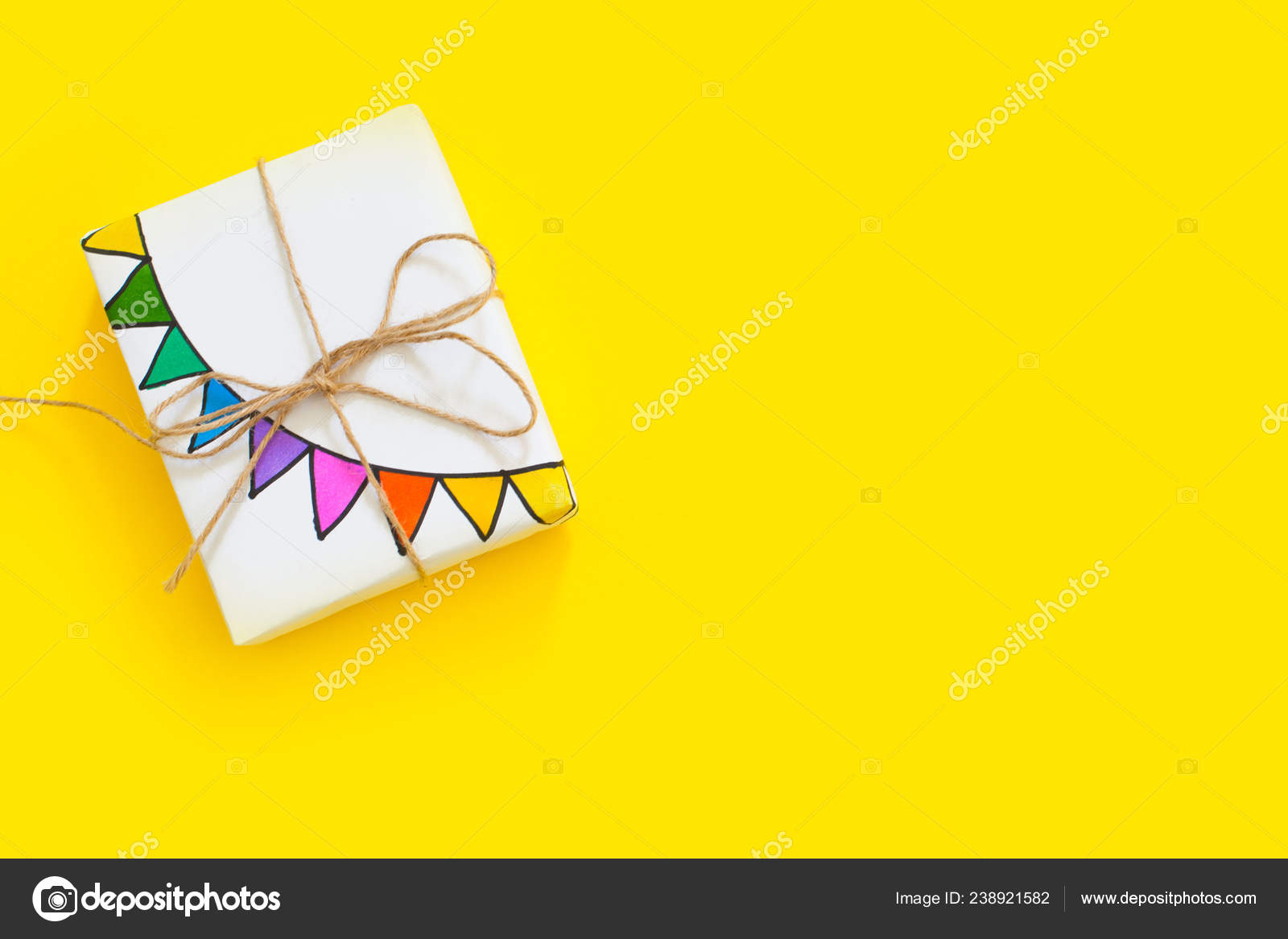 Colored Gift Boxes Jute Rope Yellow Background Gifts Party