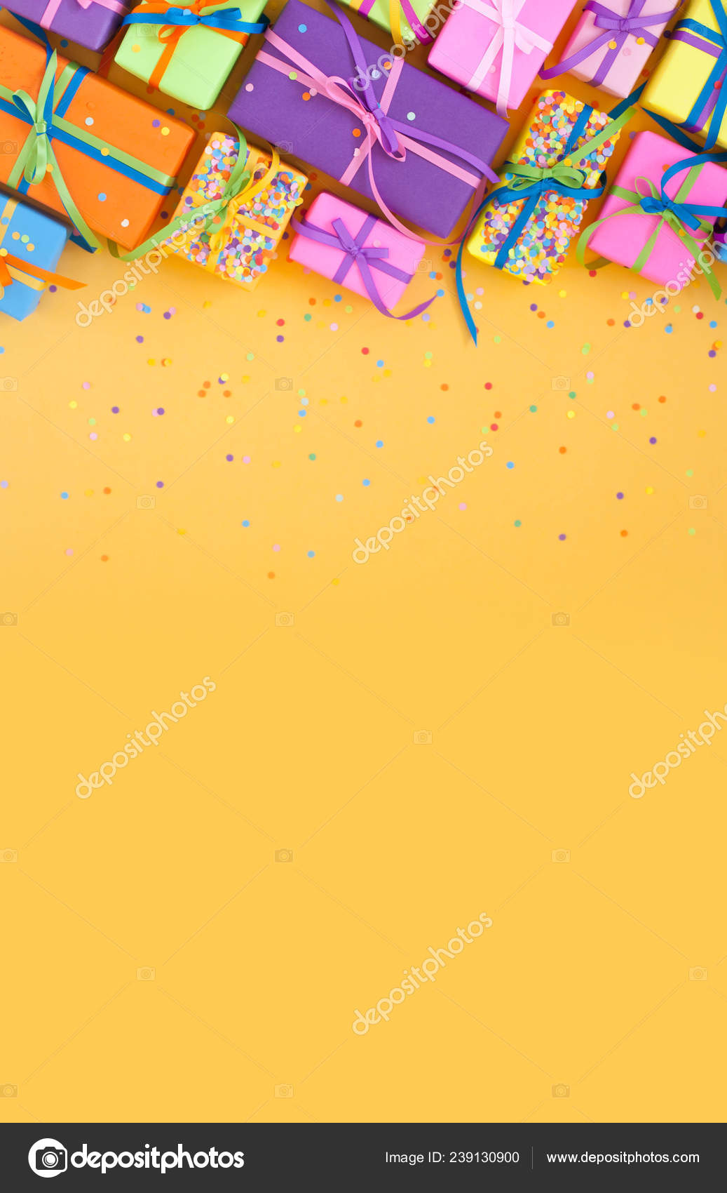 Colored Gift Boxes Colorful Ribbons Yellow Background Gifts