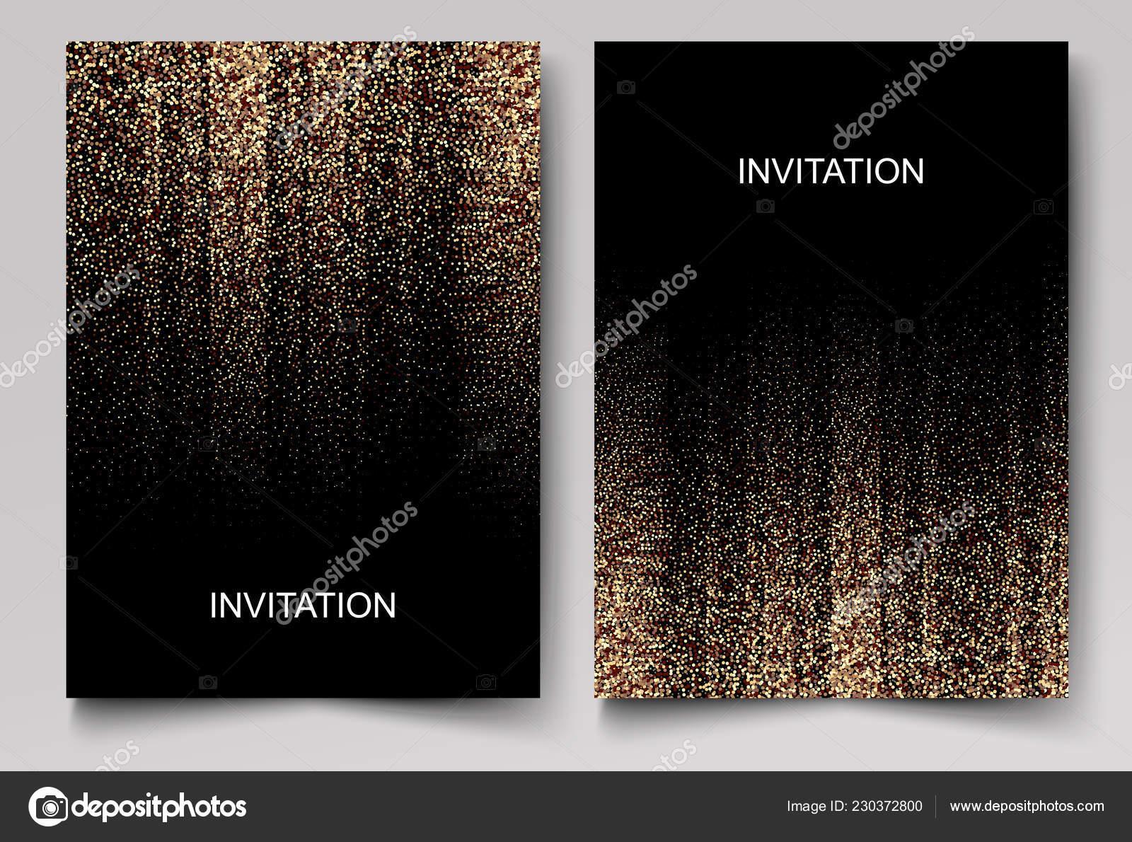 Set Wedding Invitation Cards Design Gold Confetti Black