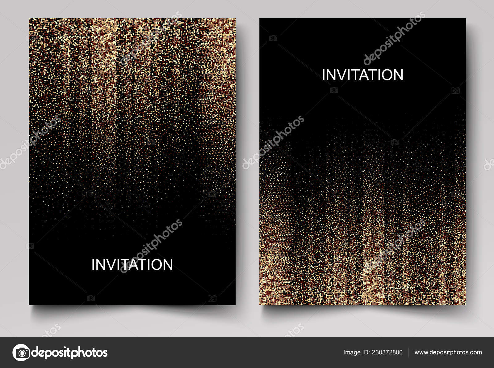 Set Wedding Invitation Cards Design Gold Confetti Black Background Vector Stock Vector C Vitles 230372800