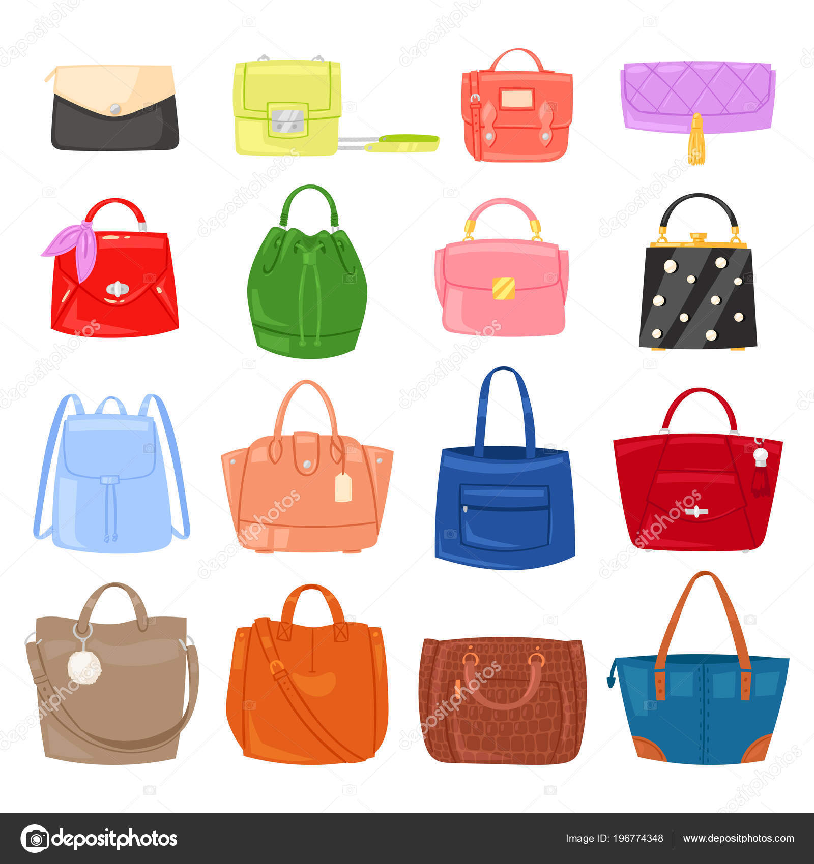 Woman bag vector girls handbag or purse and shopping-bag or clutch from fashion  store illustration baggy set of shoppers bagged package isolated on ... f22fe4734d