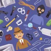 Vektorova Grafika Inspektor Policie A Zlodej Kresleny Design