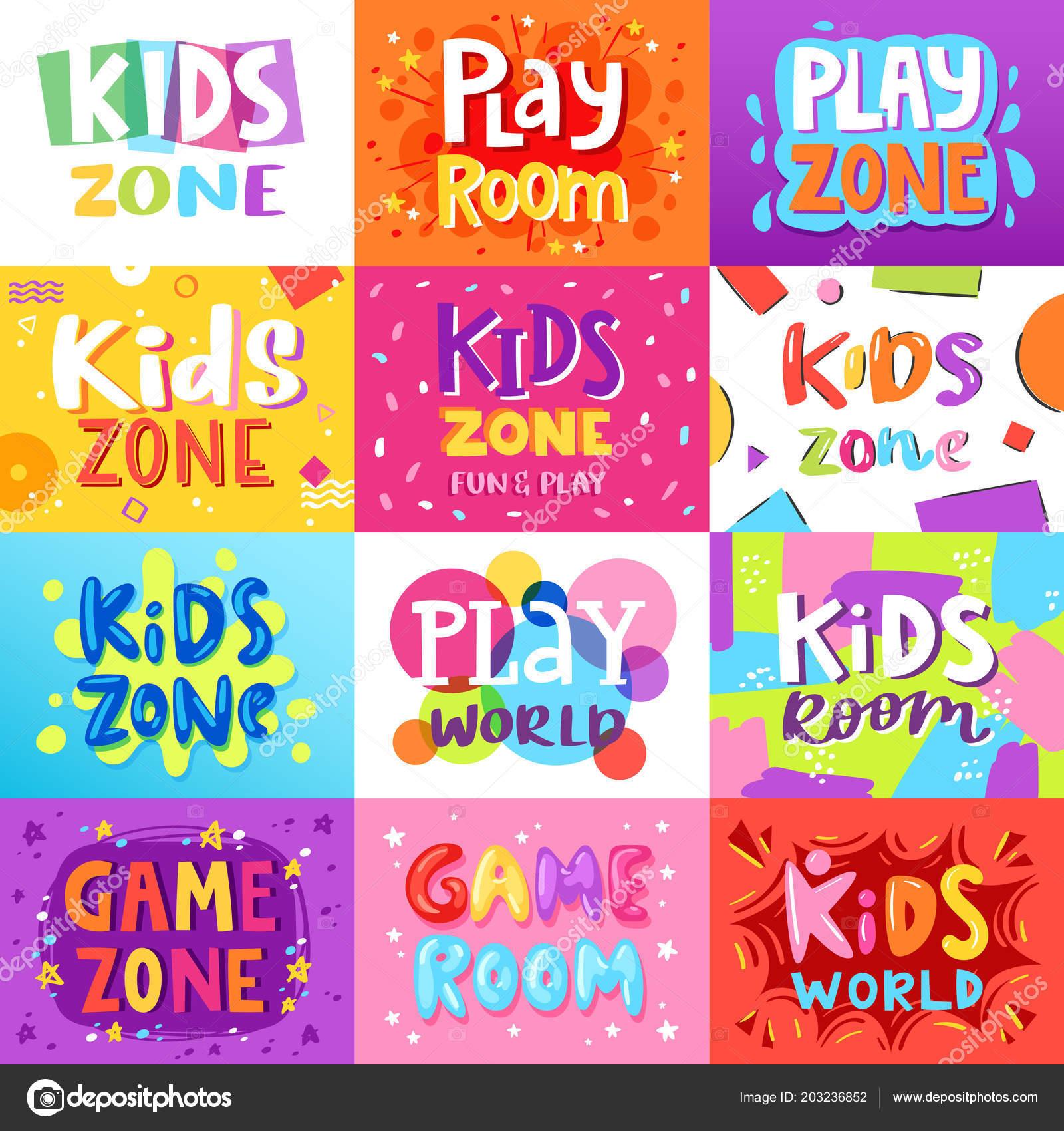 Bandera Sala Juegos Kids Sala Juegos Vector Estilo Dibujos Animados