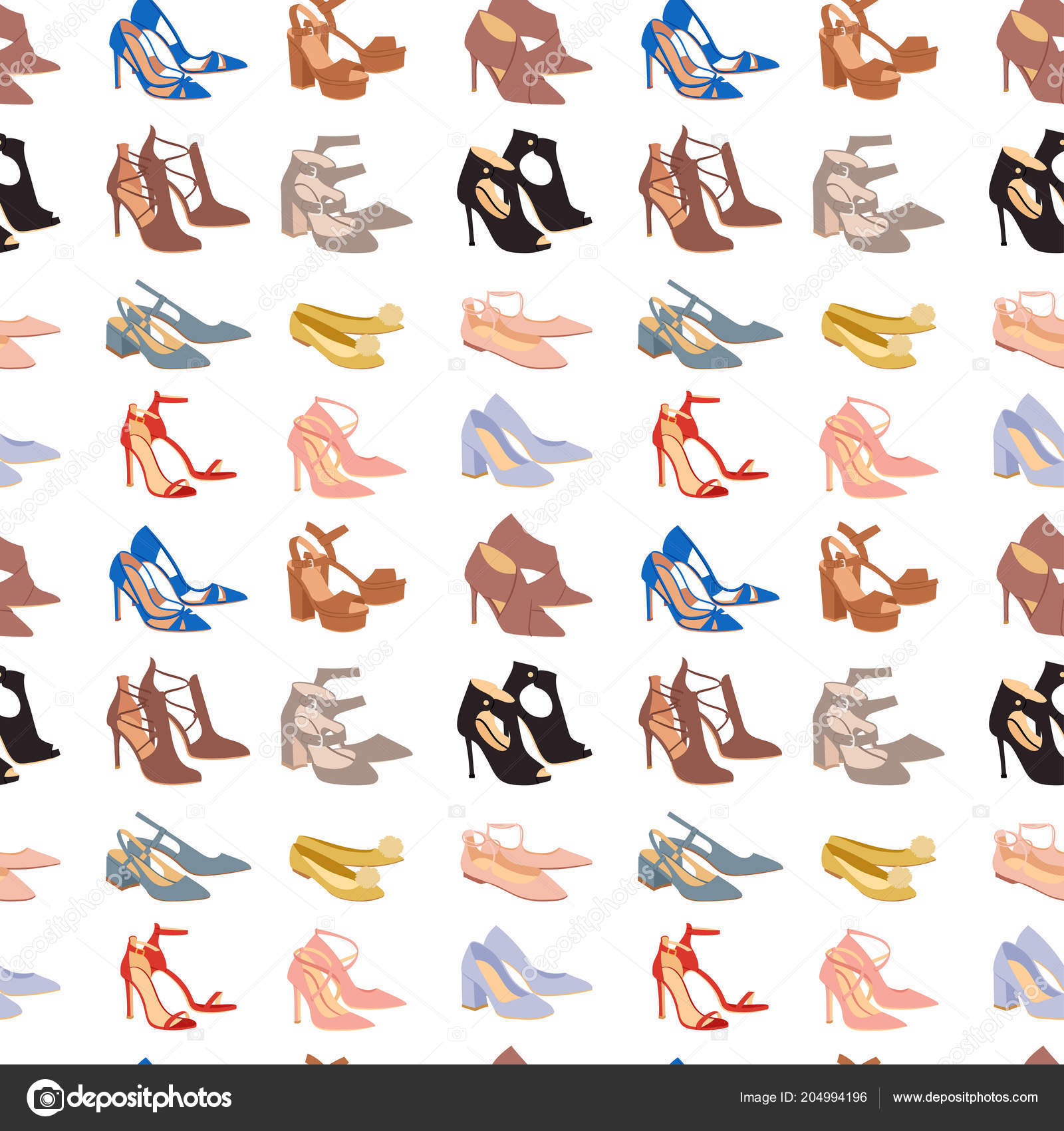Mujeres zapatos diseño plano vector calzado zapato tienda anuncio ...