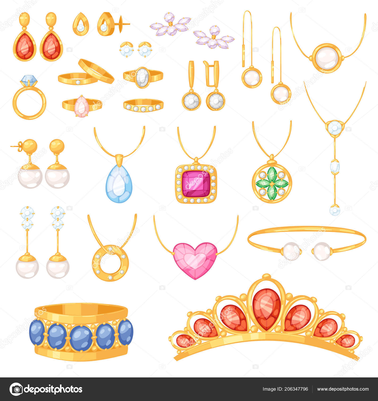 b944c72e70e8 Joyas vector joyería oro pulsera collar aretes y anillos de plata con  diamantes conjunto ilustración de accesorios joya de mujer aislado sobre  fondo blanco ...