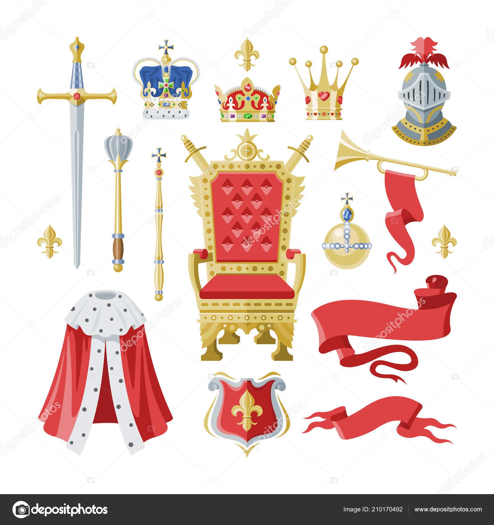 Королевский золотой короны набор, символы власти короля и королевы.