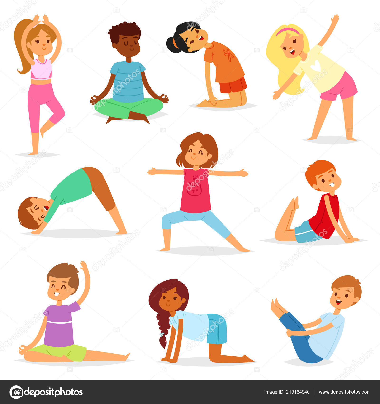 Yoga Kids Vector Young Child Yogi Character Training Sport Exercise Illustration Healthy Lifestyle Set Of Cartoon Boys And Girls Wellness Activity Of Stretching Meditation Isolated On White Background Stock Vector C