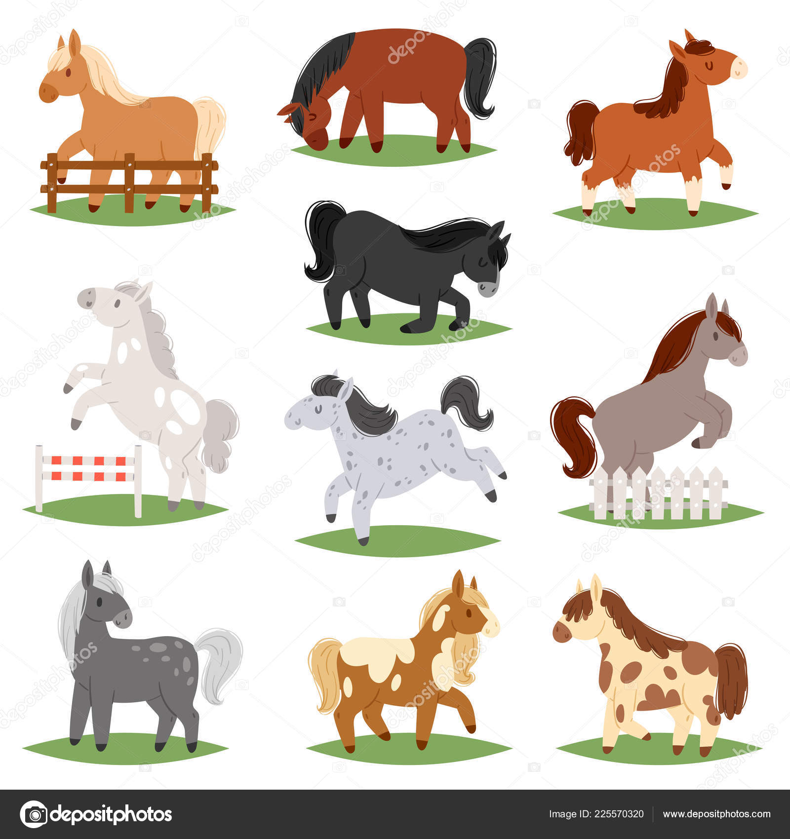 Cartoon Horse Vector Cute Animal Of Horse Breeding Or Kids Equestrian And Horsey Or Equine Stallion Illustration Childly Animalistic Horsy Set Of Little Pony Character Isolated On White Background Stock Vector C