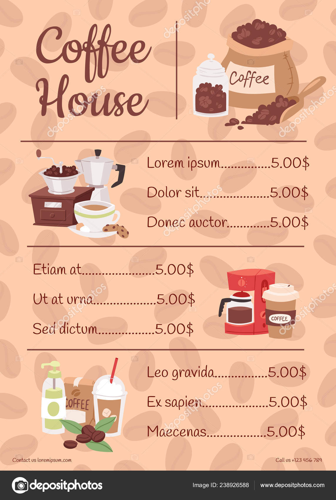 Pictures Coffee House Cartoon Menu For Coffee House With