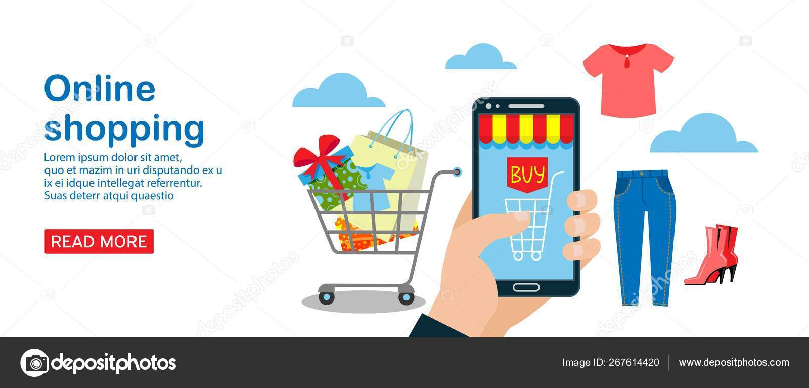 Online Shopping Banner Vector Illustration Mobile Page Design Template For Buying Clothing Such As T Shirt Jeans Shoes Online Ordering E Commerce Cart With Purchases Present Stock Vector C Vectorshow 267614420