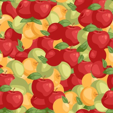 Apples seamless pattern vector illustration. Bright colorful orchard or garden product. Healthy fresh and organic food. Apple of different color and shape for menu, advertisement.