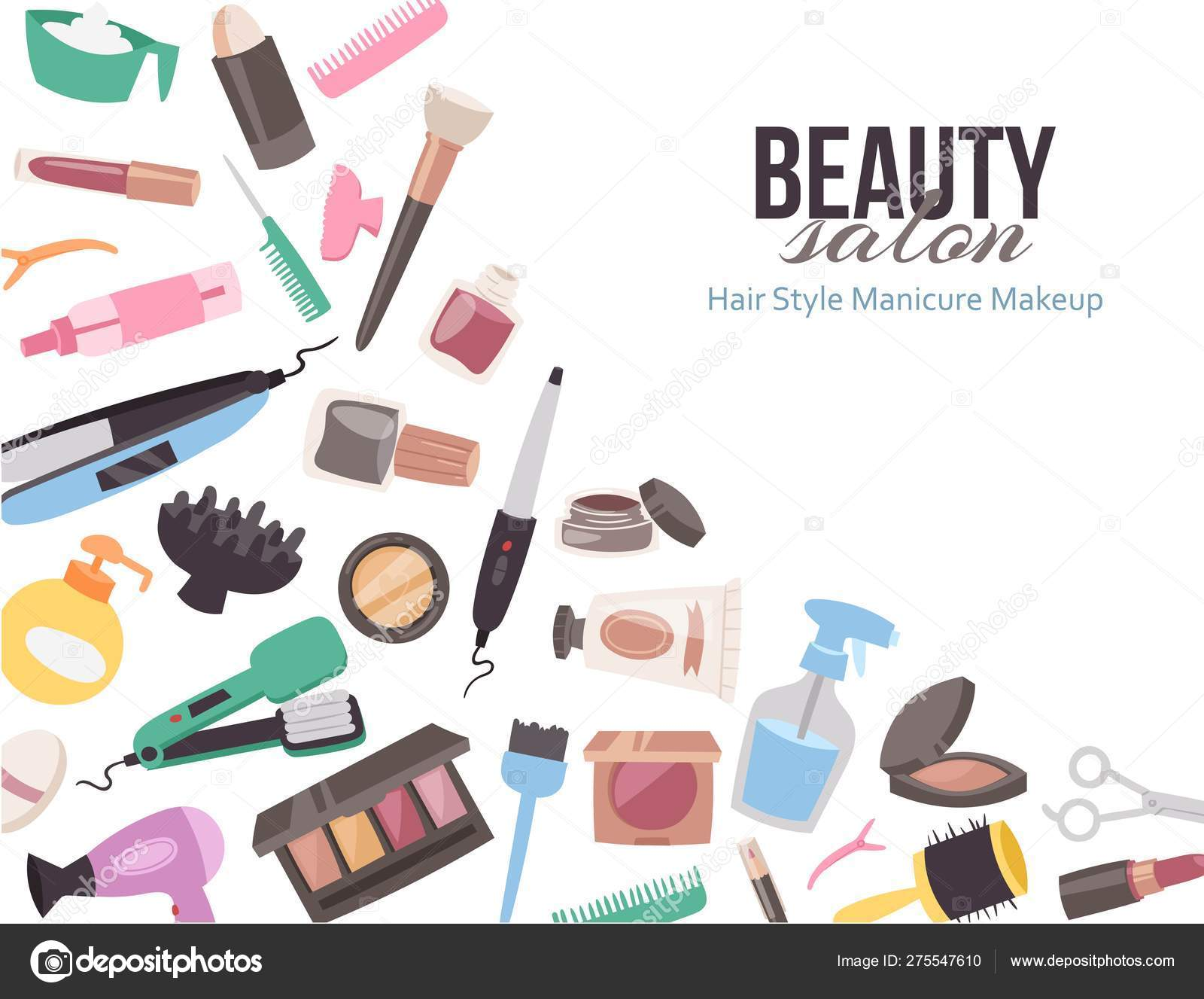 Vector Template With Cartoon Accessories For Beauty Salon Or Brochure For Spa Advertisement And Cover Design Beautiful Banner Hairstyle Manicure And Makeup Beauty Tools Stock Vector C Vectorshow 275547610