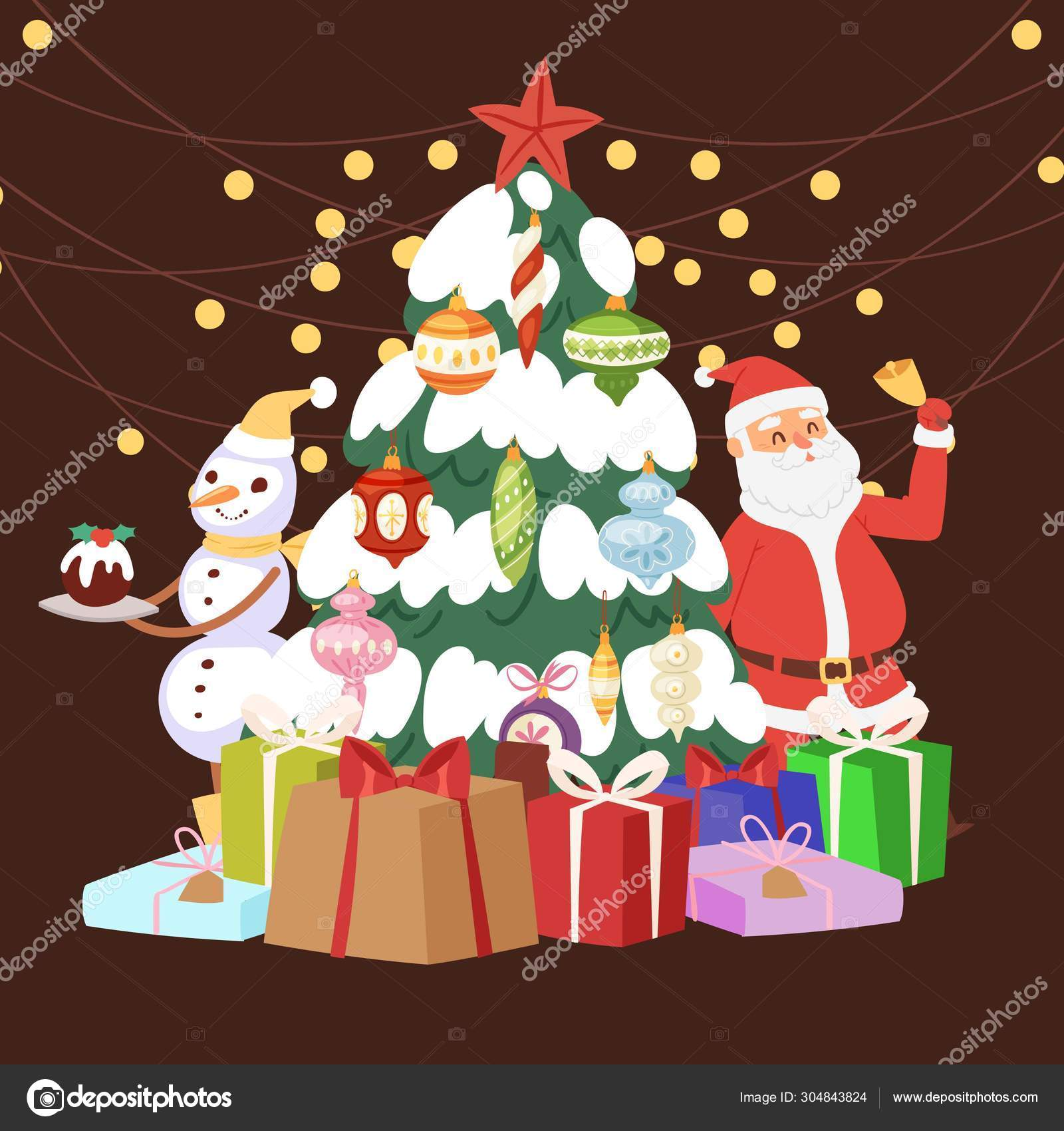 Christmas Tree With Cartoon Santa Claus Gift Boxes Light And Snowman Vector Illustration Presents And Decoration Balls For Merry Christmas Tree And A Happy New Year Stock Vector C Vectorshow 304843824 Disney series & full length cartoons in english. https depositphotos com 304843824 stock illustration christmas tree with cartoon santa html