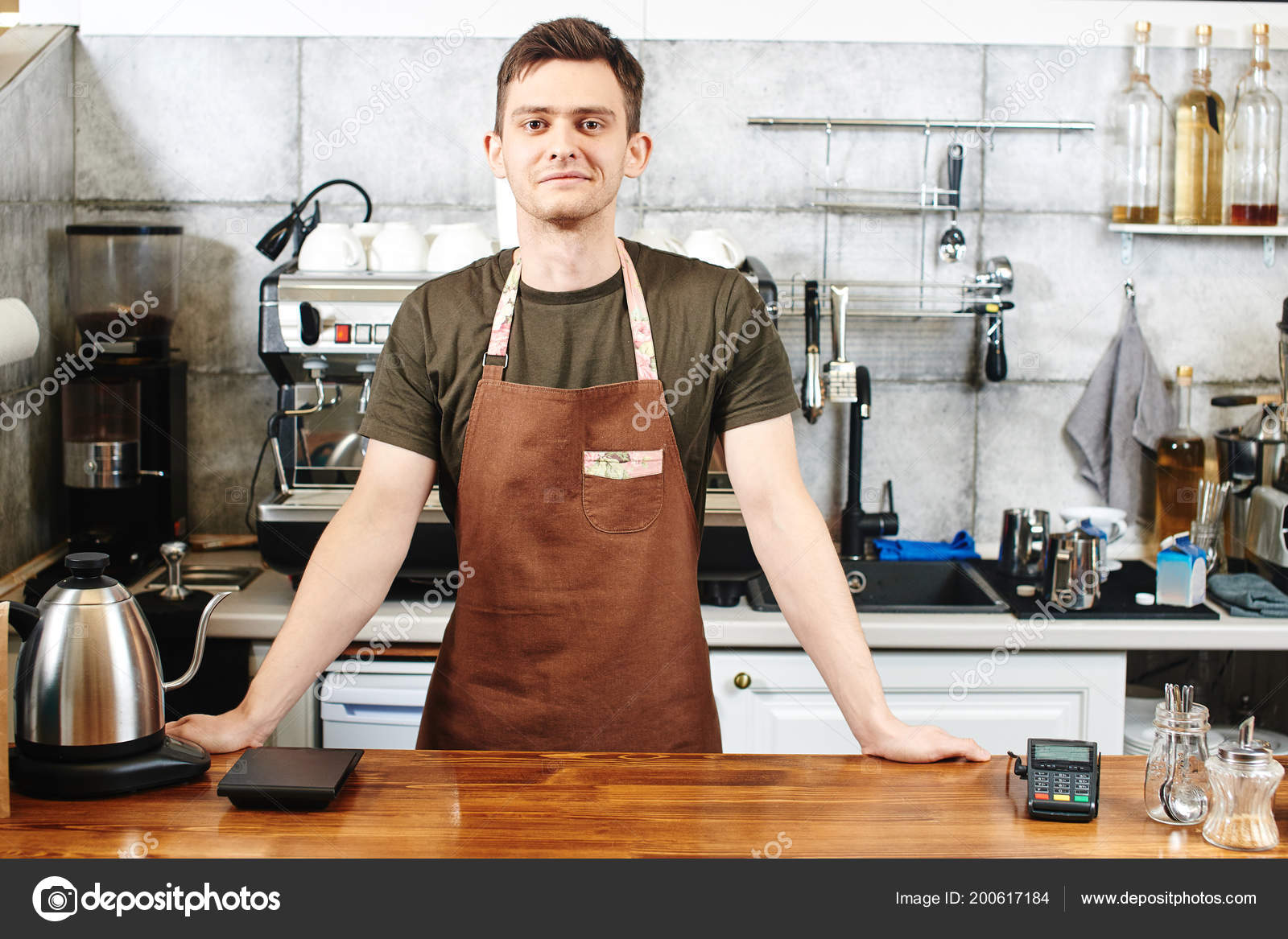 Waiter Uniform Standing Bar Coffee Shop Stock Photo C Amixstudio 200617184