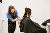 Fényképek female hairdresser cutting clients hair with scissors at beauty salon, care concept