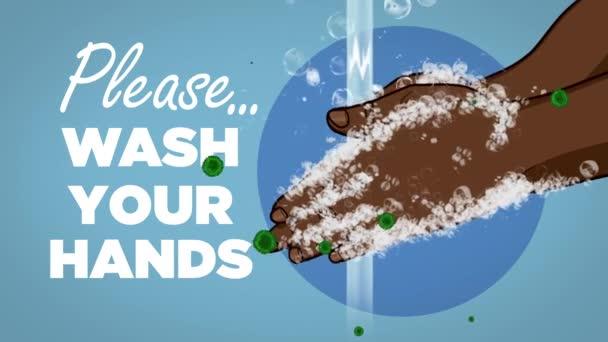 Kérlek mosd meg a kezed Coronavirus Animation Dark Skin