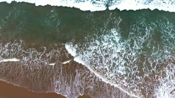 Wonderful aerial view Sea Beach Wave. Drone shooting.
