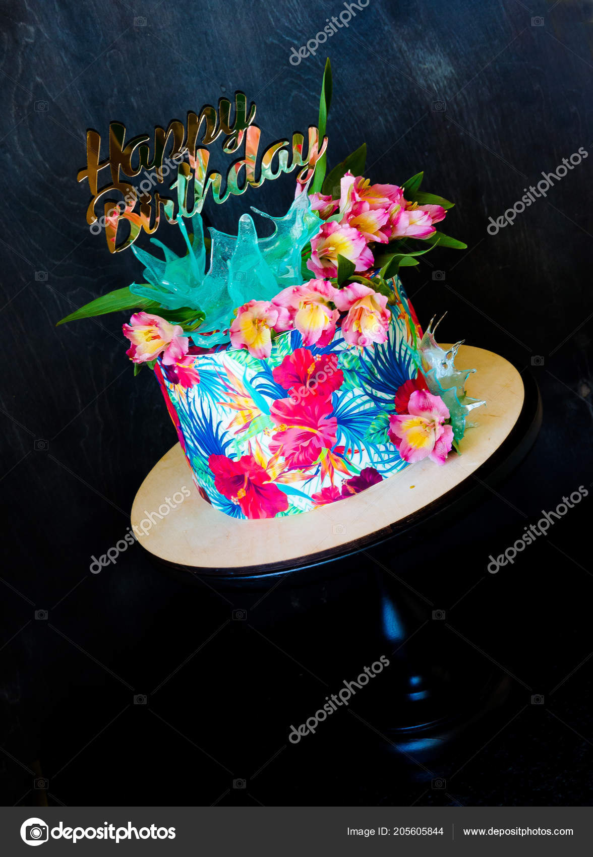 Tremendous Tropical Birthday Cake Cakestand Topper Stock Photo C Tusya119 Birthday Cards Printable Trancafe Filternl