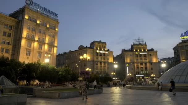 Blue hour pan across Maidan to Lyadsky gate and Globus mall in Kiev with the Kozatskiy hotel behind