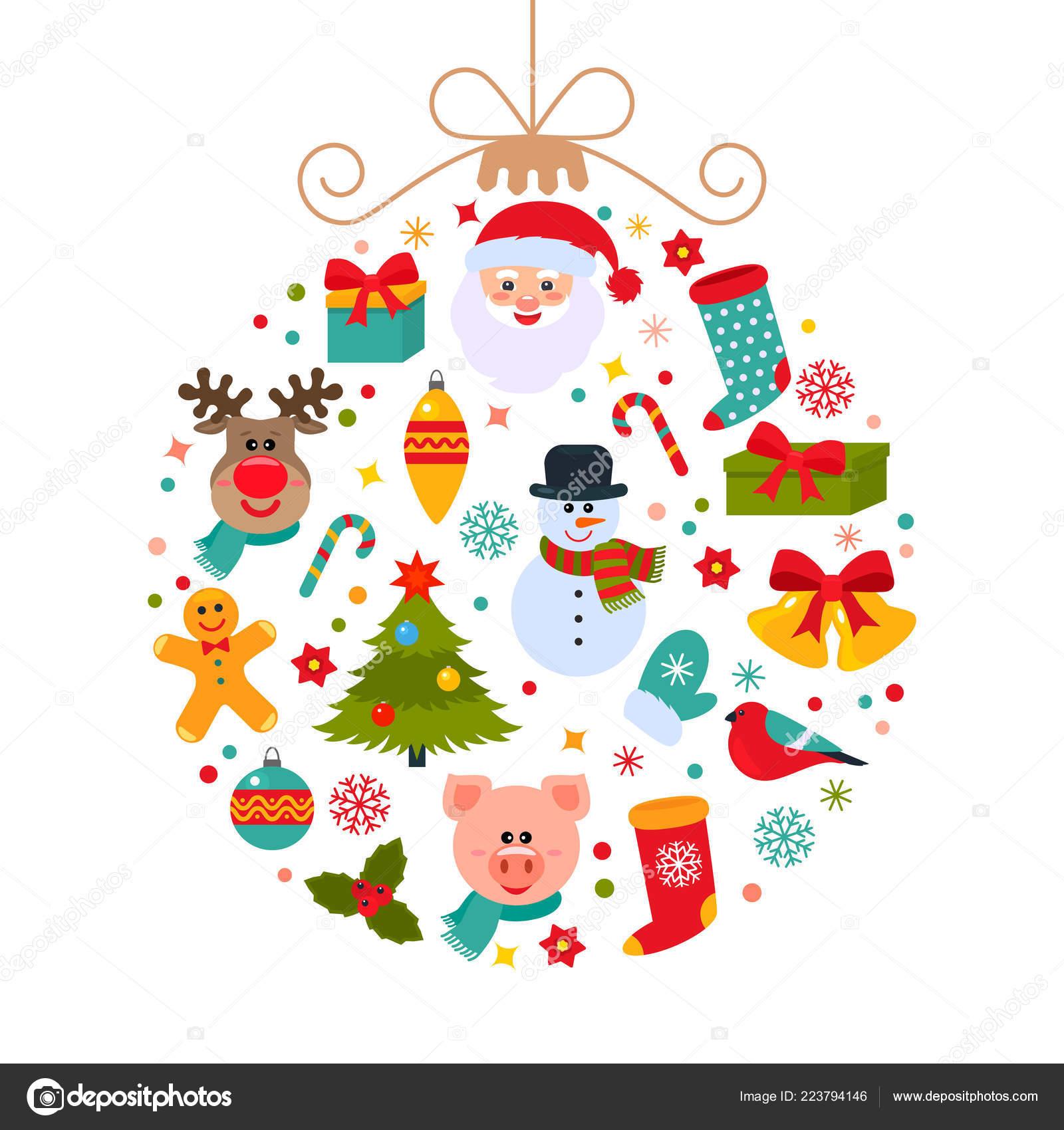 I Simboli Del Natale.Sfera Natale Astratto Con Simboli Del Natale Babbo Natale