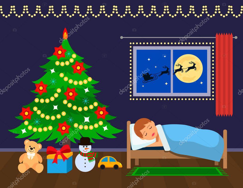 Открытка спит санта спят его олени