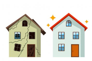An old, ruined house in cracks with broken glasses and a renovated beautiful country cottage. concept before and after repair. flat vector illustration