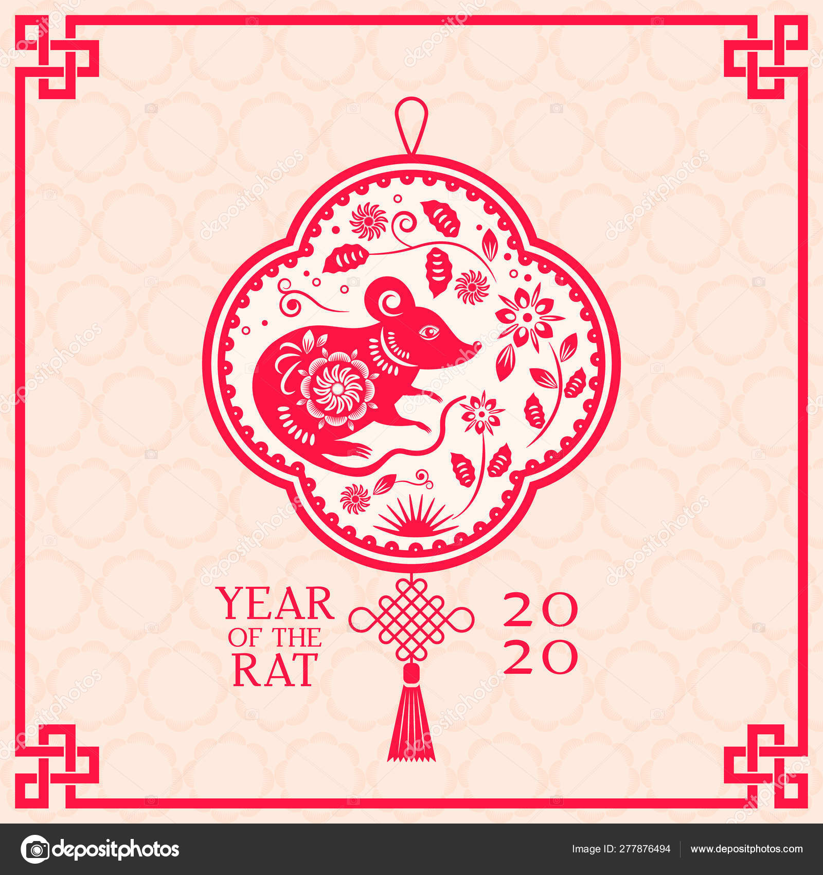 Greeting card with Chinese new year 2020 white rat on the